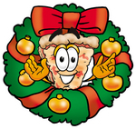 0025-0805-2817-2863_clip_art_graphic_of_a_cheese_pizza_slice_cartoon_character_in_the_center_of_a_christmas_wreath